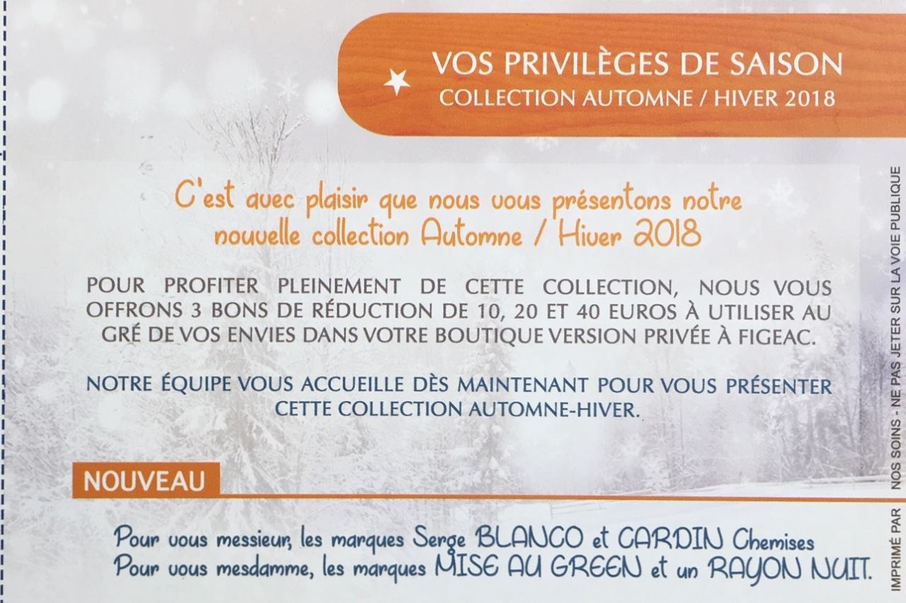 VERSION PRIVEE - Figeac : Offre promotionnelle